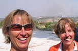Daina and Pam biking through Italy